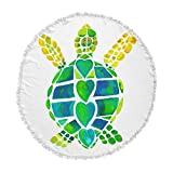 KESS InHouse Catherine Holcombe Turtle Love Green Teal Round Beach Towel Blanket
