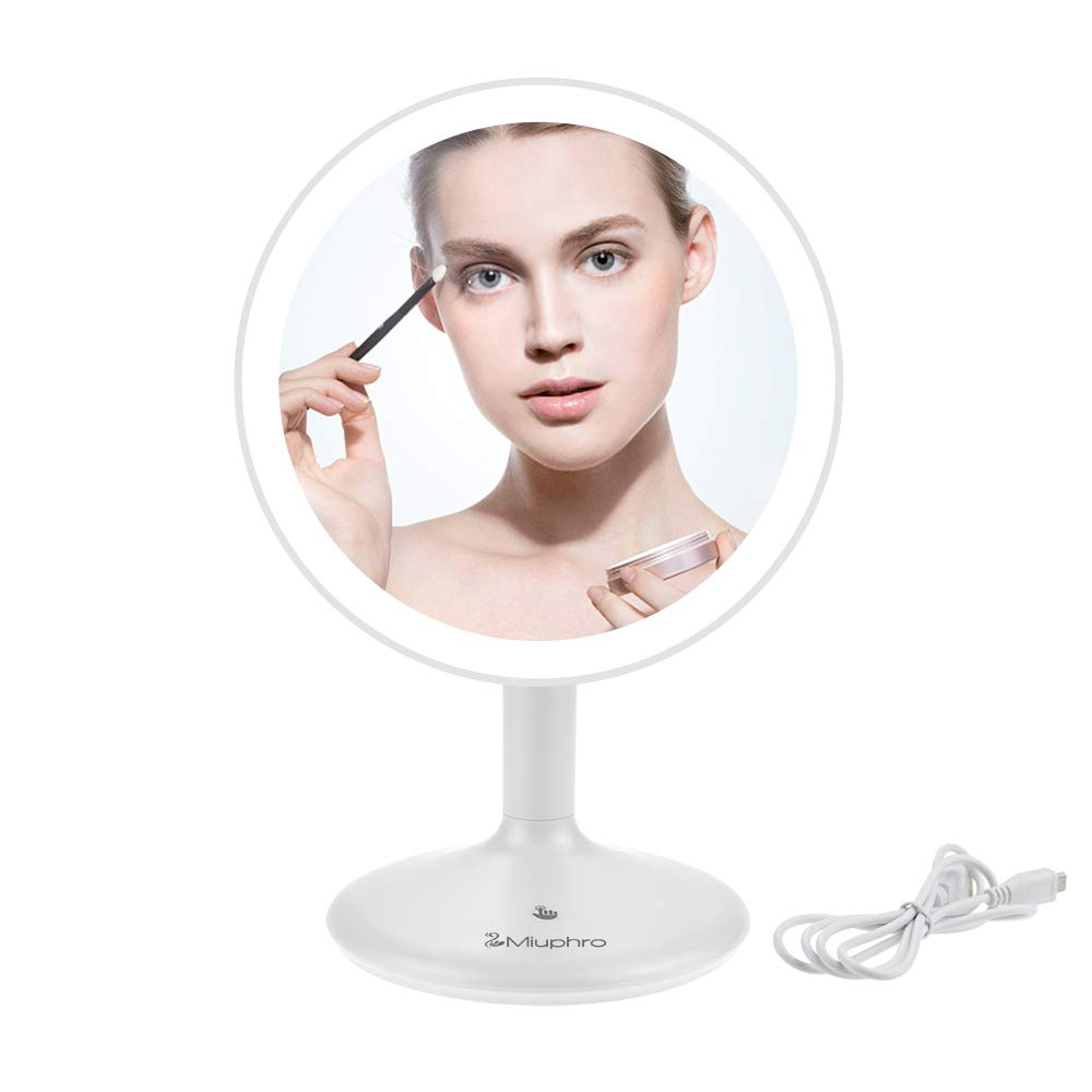 Makeup Vanity Mirror, Miuphro LED Lighted Makeup Plain Mirror Dimmable with USB Charging, Portable, Rotatable, Touch Switch, Brightness Adjustable High Definition Cosmetic Mirror White