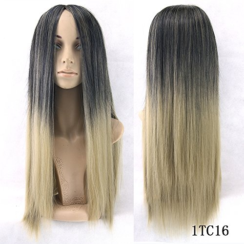 6 Color 70Cm Long Straight False Hair Black To Blonde 613 Ombre Wig Wigs-Female Synthetic Hair Cosplay Wigs For Women 4/30HL 28inches ()