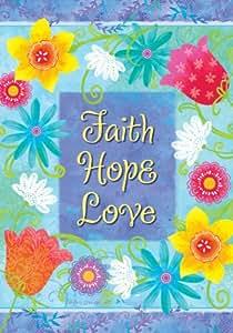 Fe Esperanza Amor–flores–Inspirational–doble cara tamaño estándar bandera decorativa 28x 40pulgadas