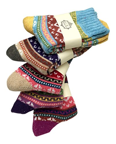 LuluVin's Women's Colorful Crew Vintage Inspired Knit Socks (5 Pairs) (Mulitcolored) ()
