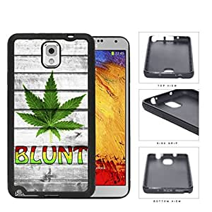 Green Weed Leaf Blunt with Gray Wood Grunge Pattern Hard Rubber TPU Phone Case Cover Samsung Galaxy Note 3 N9000