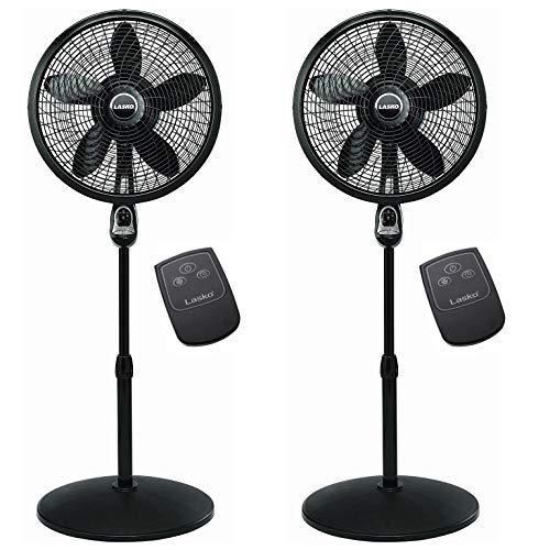 - Lasko 18 Inch Oscillating Cyclone Pedestal Stand Fan w/ Remote Control (2 Pack)