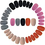 Wobe 120pcs Colorful Coffin Nails Matte False Gel Nails Art Tips Sets Full Cover Medium Matte False Nails for Ballerina…