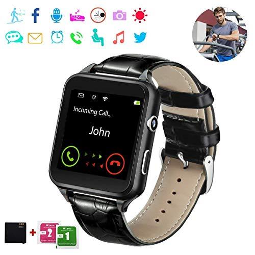 Smart Watch,Bluetooth Smartwatch Touchscreen with Camera, Smart Watches Waterproof Smart Wrist Watch Phone Compatible Android for Men Women Kids (H-Black)