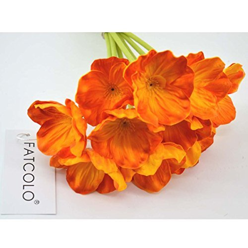 10 Pcs high quaulity Fresh Artificial Mini Real Touch PU/ latex Corn Poppies Decorative Silk fake artificial poppy flowers for Wedding holiday Bridal Bouquet Home Party Decor bridesmaid bouquets (orange) - Hall Orange Poppy