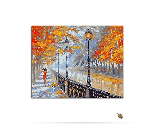 - aoyuff Painting by Number Walk The Dog Woman Autumn Street DIY Animal Hand-Painted Canvas Oil Painting for Living Room Home Decor