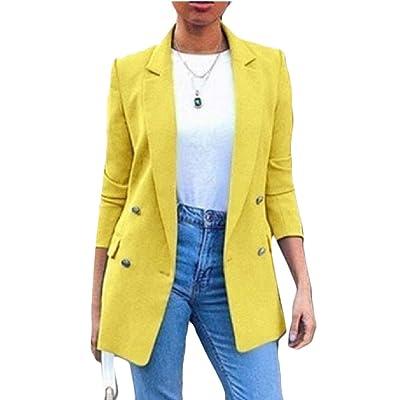 ShuangRun - Botones Sueltos Casuales para Trabajo, Oficina, para Mujer Amarillo Amarillo XS: Ropa y accesorios