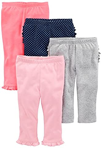 Simple Joys by Carter's Baby Girls 4-Pack Pant, Pink/Grey/Navy Ruffle, 0-3 Months (0 3 Months Baby Girl)