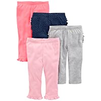 Simple Joys by Carter's Baby Girls 4-Pack Pant, Pink/Grey/Navy Ruffle, 3-6 Mo...