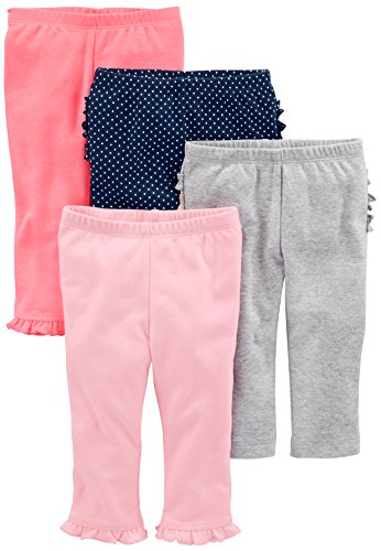 Simple Joys by Carter's Baby Girls' 4-Pack Pant, Pink/Gray/Navy Ruffle, 12 Months