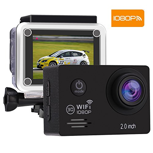 Sports Action Camera 2.0'' LCD HD Underwater Camera 12MP 30M WiFi 1080P Waterproof Camcorder 170° Degree Wide Angle Lens With Mounting Accessories Kit for Cycling Swimming Climbing