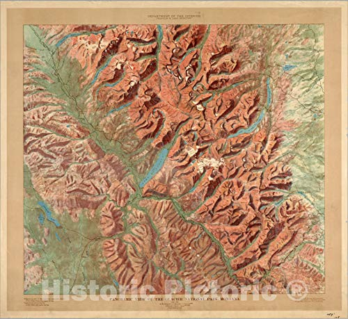 Historic Map | Panoramic View of the Glacier National Park, Montana. 1914 | Vintage Wall Art | 44in x 41in