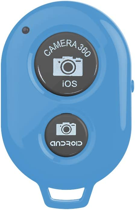 Camera Shutter Remote Control with Bluetooth Wireless Technology - Create Amazing Photos and Videos Hands-Free - Works with Most Smartphones and Tablets (iOS and Android)+1pcs Wrist Strap (Blue)