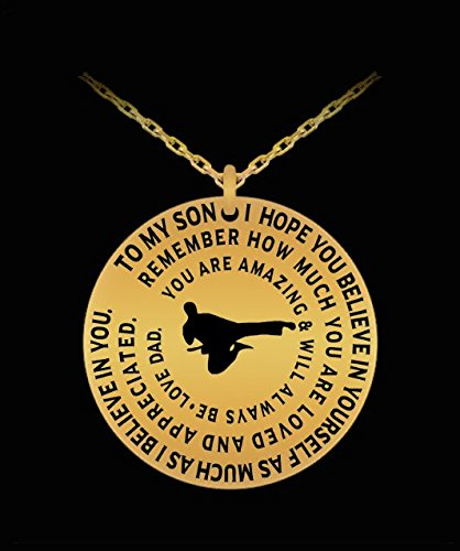 Karate Necklace For Boys - Gold Laser Engraved Pendant Charm From Dad - Personal Gift To (Simple Simon Costume)