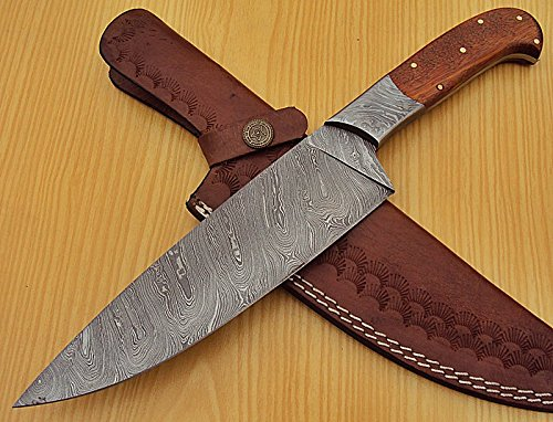 RK-L -1319 - Custom Handmade Damascus Steel 12.2 Inches Chef Knife - Marindi Wood Handle with Damascus Steel Bolster