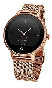 TIGER smartWATCH Paris Bluetooth Smart 4.0LE and 3.0 with Stainless Steel Rose Gold Wristband and Gemstones