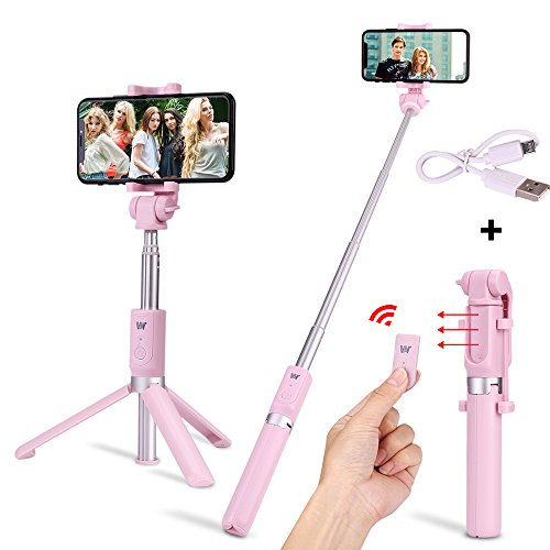 Verygoo Selfie Stick Bluetooth with Detachable Wireless Remote Control, Foldable Tripod Stand, Extendable Tripod Aluminum Alloy360Degree Rotation compatible with Apple,iPhone x 8 6 7 plusAndroid(Pink)