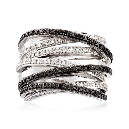 Ross-Simons 0.30 ct. t.w. Black and White Diamond Highway Ring in Sterling Silver ()