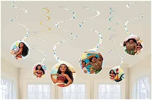Amscan 013051790431 Disney Moana Hanging Swirl Birthday Party Decoration Supplies 6ct, Multi-Colored