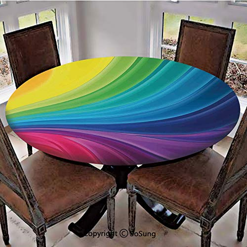 (Elastic Edged Polyester Fitted Table Cover,Abstract Smooth Rainbow Curvy Lines Pattern Spiral Wavy Light Spray Art,Fits up to 36