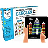 Play panda New Magnetic Puzzles Circles - with 250 Colorful Magnets, 100 Puzzle Book, Magnetic Board and Display Stand, Blue