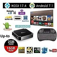2018 Android Smart TV Box with Quad Core X96 Mini Android 7.1 OS Amlogic S905W 3D/4K/HD Media Player 2GB 16GB/WiFi 2.4G X96 Mini TV Box with Wireless Mini Keyboard