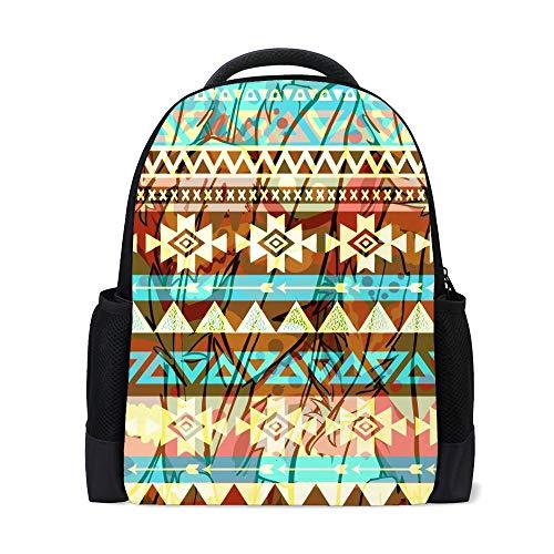 Kuizee School Bag Backpack Daypack Tribal Art Boho Ethnic Geometric Colorful Book Bag Casual Bags Durable College…