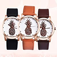 Jaylove Clearance 2018 Fashion Casual Unisex Womens Men Pineapple Faux Leather Analog Quartz Watch