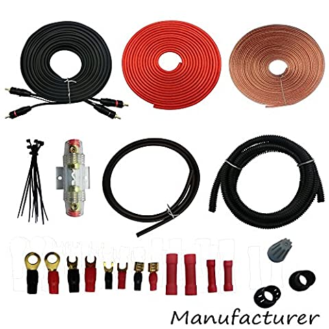 8 Gauge Amp Kit Amplifier Install Wiring Complete 8 Ga Installation Cables 2000W (Ofc 8 Gauge Amp Kit)