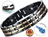 BisLinks® Titanium Magnetic Health Bracelet For Men & Women Germanium Stone Arthritis Chronic Pain Bio Therapy Carpal Tunnel Relief Negative Ion (3000 Gauss Each Magnet) + FREE LINK REMOVAL TOOL