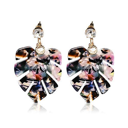 Acrylic Earrings for Women Drop Dangle Leaf Earrings Resin Minimalist Bohemian Statement Jewelry (acrylic earrings Colorful)