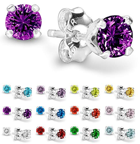 Birthstone Stud Earrings 4 mm - 925 Sterling Silver with Cubic Zirconia Crystal - February (Amethyst) - CHOOSE YOUR COLOR