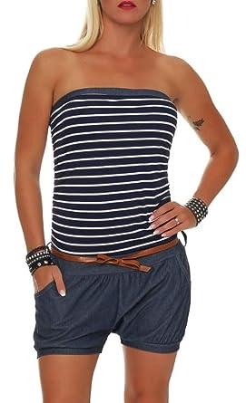 um 50 Prozent reduziert ungeschlagen x suche nach original Malito Damen Einteiler kurz im Marine Design   Overall mit Gürtel    Jumpsuit im Jeans Look   Romper - Playsuit 9646