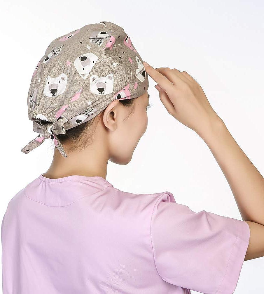 PRETYZOOM Berretto Chirurgico Cotone Stampato Berretto Infermiera Berretto Medico Cappello Assorbente Sudore Cartone Animato per Salone di Bellezza Dellospedale
