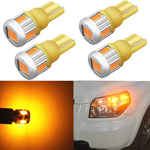 Alla Lighting 4x T10 168 194 LED Amber Bulbs Super Bright Samsung 5630 SMD 194 168 2825 W5W 175 LED Bulbs for Cars Trucks Boat Exterior License Plate Side Marker Interior Map Dome Lights, Amber Yellow (2 Piece T10 Bulbs)