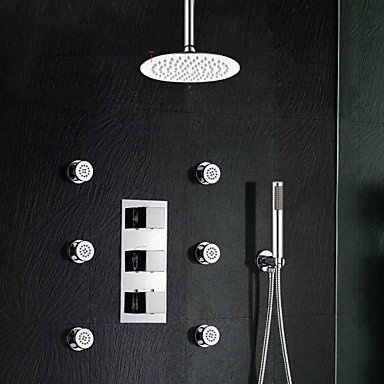 kitchen and bathroom Brass Thermostatic Shower Valve Stainless Steel 8
