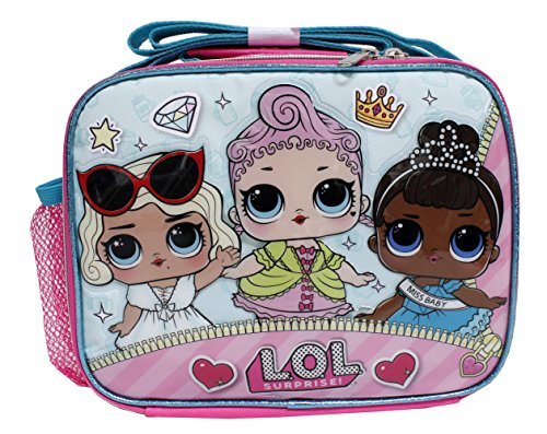 L.O.L Surpise! Girls Pink Insulated Lunch Box- Royal High-Ney, Leading Baby, Miss Baby -