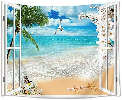 HVEST Ocean Tapestry Shell Starfish Seagull Flowers and Palm Tree Wall Hanging Tropical Beach Tapestries for Bedroom Living Room Dorm Decor,92.5W X 70.9H inches