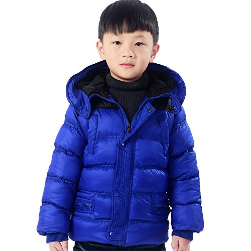XiaoYouYu Big Boy's Patchwork Design Cotton Padded Thick Winter Coats US Size 12 Blue