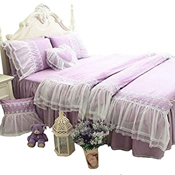 Image of Abreeze 100% Cotton 4pc Elegant Princess Girls Fairy Bedding Sets European Rural Style Bed Skirt Lace Flouncing Duvet Cover Set Twin Purple Home and Kitchen