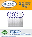 5 ProTeam Windsor Raven 6 QT Commercial Vacuum Bags Designed To Fit Proteam Windsor Raven Alpine ProVac TailVac 6 Quart Commercial Backpack Vacuums; Compare To Part # 100431, 450227, VFX100431ZP, 67-9-009-1, 62112, 612084, 450227 ; Designed & Engineered By Crucial Vacuum