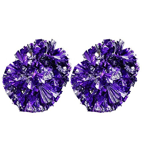 2 Pack Cheerleading Pompoms, Cheering Squad Spirited Fun Cheerleading Kit Cheerleader Aerobics Pom Poms for Team Spirit Dance Party School Sports Competition Stage Performance(Silver+Purple)]()