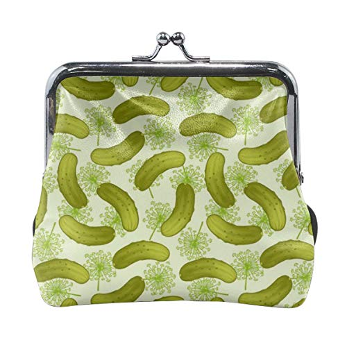- Dill Pickles Womens Fashion Leather Kiss Lock Coin Purse