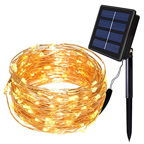 SOLARMKS TWW-924 String, Copper Wired Solar Fairy Lights, Warm White