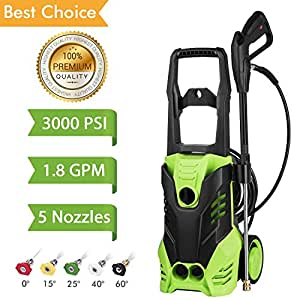 Flagup 3000 PSI Electric Pressure Washer, High Pressure Washer, Professional Washer Cleaner Machine with 5 Interchangeable Nozzles, 1800W Rolling Wheels,1.80 GPM