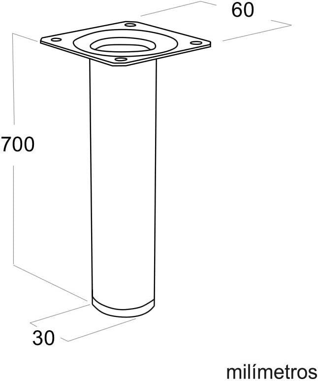 Pata pie redonda para Mesa en acero diametro 30mm altura 700mm cromo con Tap/ón contera 4 un