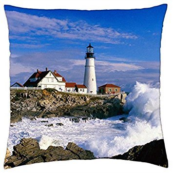 - portland head light clash of waves cape elizabeth maine portland head lighthouse - Throw Pillow Cover Case (18