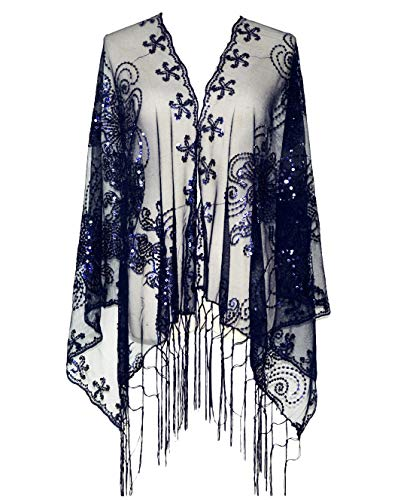 L'vow Women's Glittering 1920s Scarf Mesh Sequin Wedding Cape Fringed Evening Shawl Wrap(Navy)
