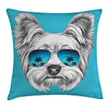 Ambesonne Yorkie Throw Pillow Cushion Cover, Yorkshire Terrier Portrait with Cool Mirror Sunglasses Hand Drawn Cute Animal Art, Decorative Square Accent Pillow Case, 16 X 16 Inches, Blue White